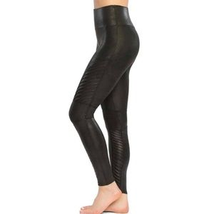 New Spanx faux leather mid rise moto leggings L
